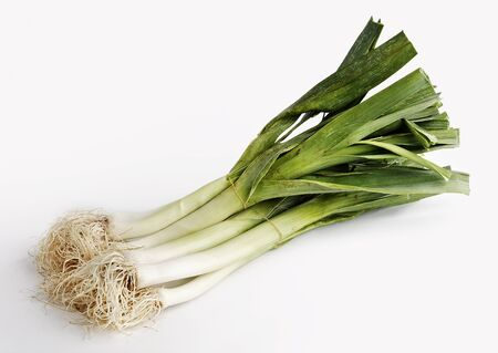 a bunch of leeks isolated on a white background photo