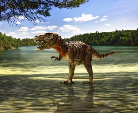 t rex: Tyrannosaurus op zoek naar voedsel Stockfoto