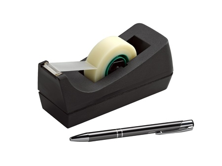adhesive tape dispenser and pen (clipping path ) photo
