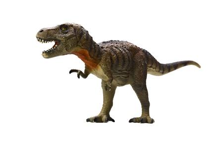 dinosaurio: tiranosaurio rex-en el fondo blanco Foto de archivo