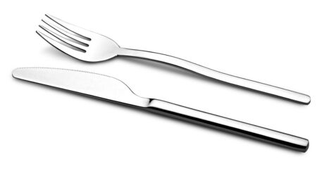 Flatware on white background. Fork and knife. Stock Photo - 12414046