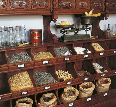 abarrotes: comestibles retro en estilo antiguo