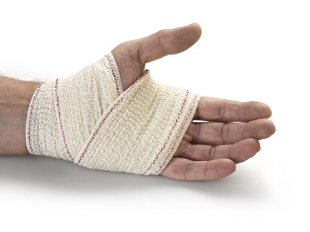 limbs: Medicine bandage on human hand