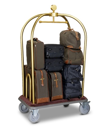 bagage: chariot � bagages h�tel isol� sur fond blanc