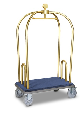 hotel baggage cart isolated on white background photo