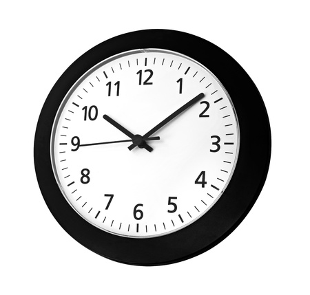 Black clock on wall reads ten past ten isolated on white background Stock Photo - 12414785