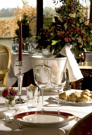 Table setting with a bottle of wine