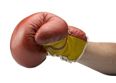 Red and yellow boxe gloves with arm photo