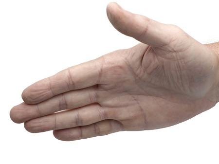 male hand about to shake hands on white photo