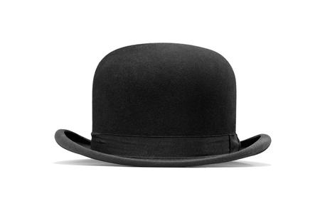 hombre con sombrero: un sombrero de hongo aislado en un fondo blanco
