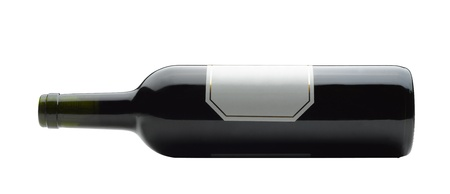 Bootle of wine lying down on white background  clipping path