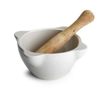 morter: White ceramic bowl on white background Stock Photo