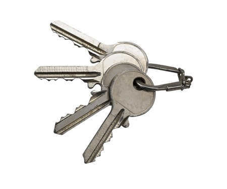 Several old rusty keys on ring (clipping path) Stock Photo - 12506740