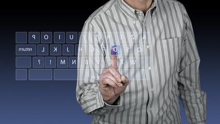 touchscreen interface with azerty keyboard photo