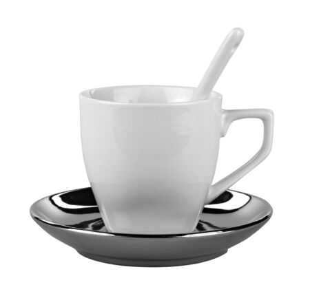 Small white coffee cup isolated on white Stock Photo - 16235347