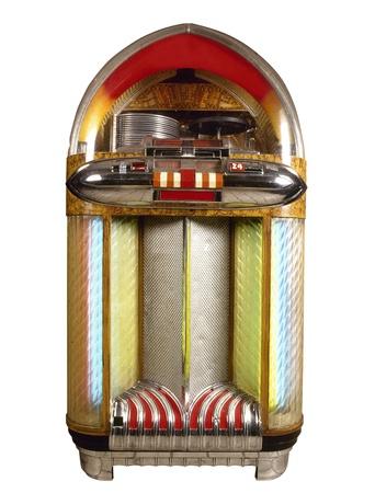 Oude jukebox muziekspeler geïsoleerd op witte achtergrond Stockfoto