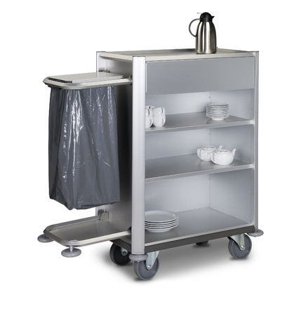 The hotel cleaning tool cart isolated photo