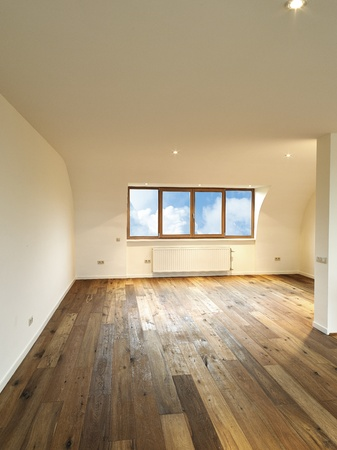 modern interior with wooden floor, there is a path for windows