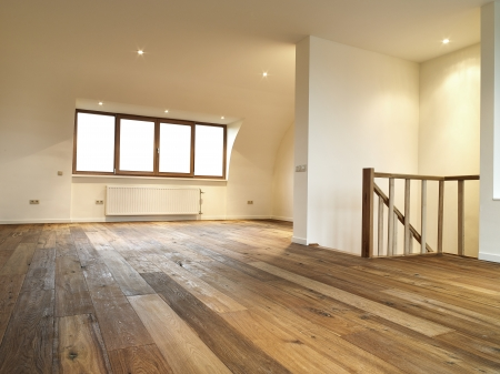 modern interior with wooden floor, there is a path for windows photo