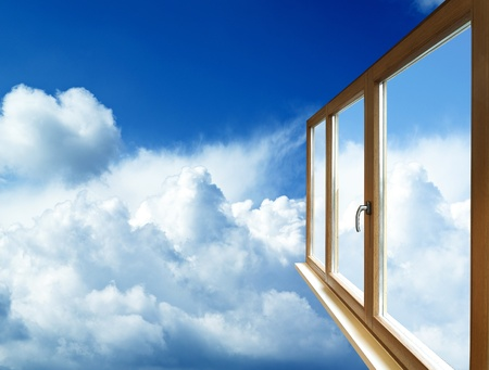 window frame in perspective on blue sky photo