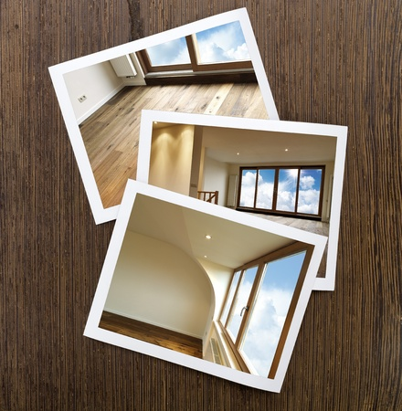 Polaroid-Wooden Floor and windows Boards Stock Photo