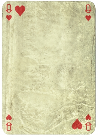 vintage simple background -playing card - queen of hearts photo