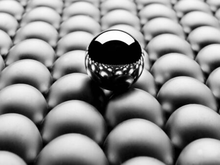 singularity: One ball  steel  stands out  Stock Photo
