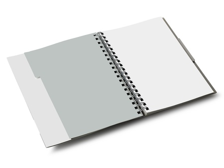blanco: Notebook to spirale Il is a path for all, and 2 paths to the pages  You can easily change the color pages Stock Photo