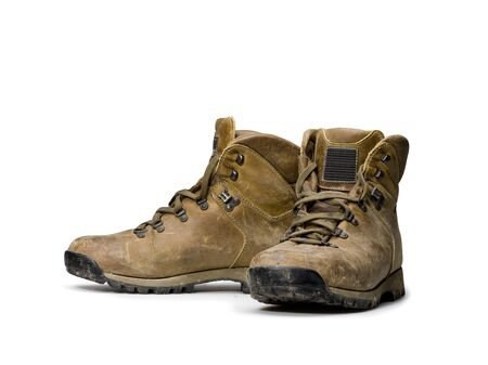 lacet: pair of hiking shoes on white background