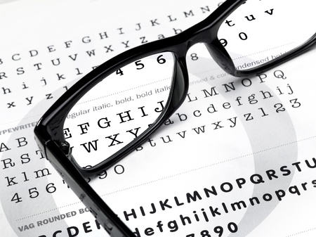 myopic: magnifying glasses on a writing background