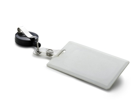 White badge ID isolated against white background photo