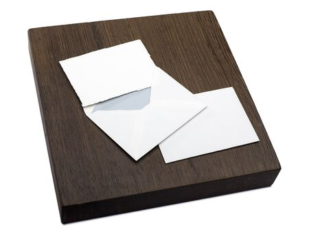 wooden block with a letter and an envelope photo