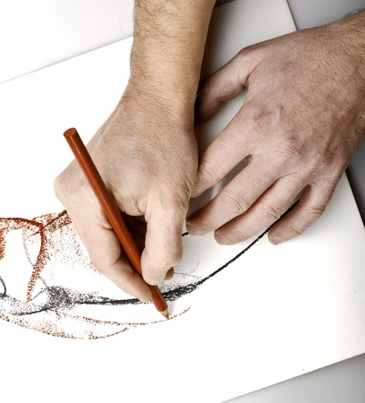 pencil and paper: Manos drawning