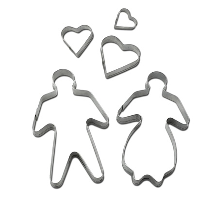 Cookie cutter on white background with clipping path Imagens