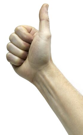 geste: thumbs up on white background