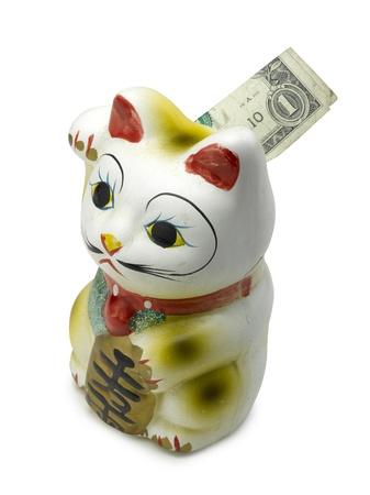 neko: Lucky cat bank maneki neko on white Stock Photo