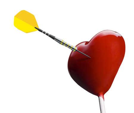 Heart-shaped lollipop hit by an arrow Stock Photo - 17364094