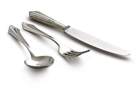 d   argent: This set is old, it is not brand new, the flaws in the silverware are natural  This set has often served