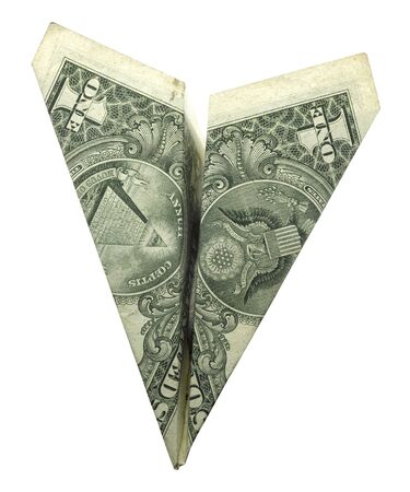 dollar paper plane on white background photo