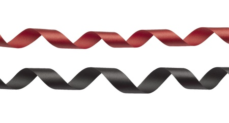 Red and black ribbon on white background Stock Photo - 17363990