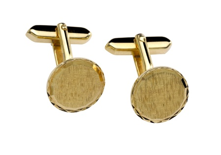 cuff links: Gold cuff link isolated on white background