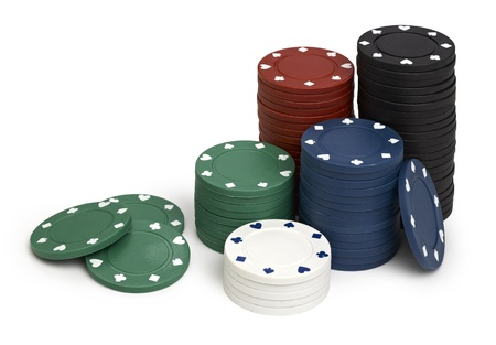 tokens: Red,black,green,blue and white casino tokens, isolated on white background