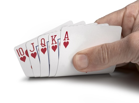 jeu de carte: Royal Flush sur un fond blanc