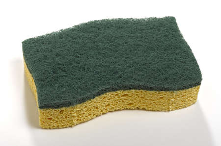 abrasive: sponge with green abrasive on white background