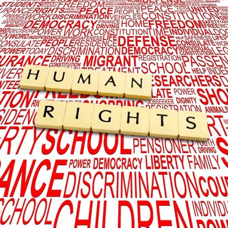 diritti umani: Parole diritti umani su un backround con lettere