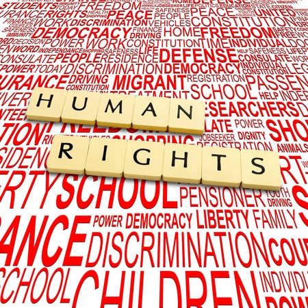 Words human rights on a backround with letters Stock Photo - 17363933