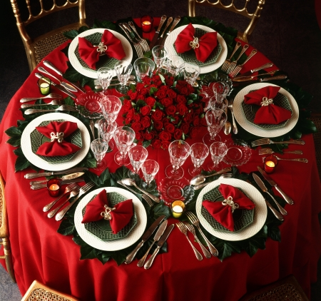 A decorated christmas dining table  Фото со стока