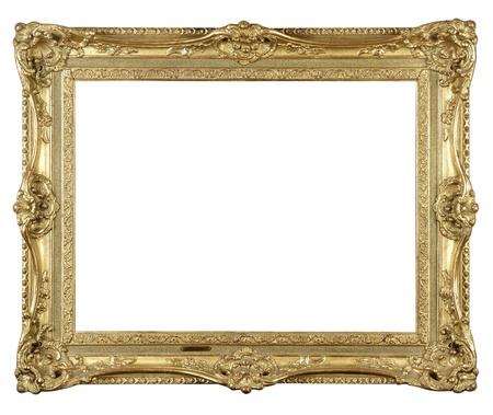 Old antique gold frame on white