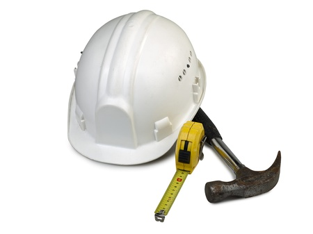 isolated old hard hat with used tools Stock Photo - 17379945