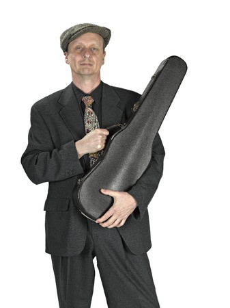 man with violin case on white background photo